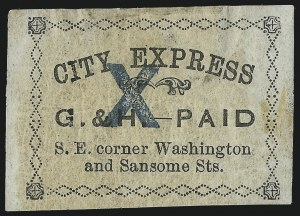 Sale Number 1071, Lot Number 4358, Carriers and Locals, Cont., Sanitary Fair, Christmas SealsGahagan & Howe City Express, San Francisco, 10c Black (70L4), Gahagan & Howe City Express, San Francisco, 10c Black (70L4)