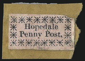 Sale Number 1071, Lot Number 4362, Carriers and Locals, Cont., Sanitary Fair, Christmas SealsHopedale Penny Post, Milford Mass., (1c) Black on Pink Glazed, Rayed Asterisks (84L1), Hopedale Penny Post, Milford Mass., (1c) Black on Pink Glazed, Rayed Asterisks (84L1)