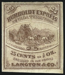 Sale Number 1071, Lot Number 4365, Carriers and Locals, Cont., Sanitary Fair, Christmas SealsHumboldt Express (Langton's), Nevada, 25c Brown (86L1), Humboldt Express (Langton's), Nevada, 25c Brown (86L1)