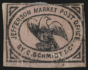 Sale Number 1071, Lot Number 4368, Carriers and Locals, Cont., Sanitary Fair, Christmas SealsJefferson Market P.O., New York N.Y., (2c) Black on Pink Glazed (88L1), Jefferson Market P.O., New York N.Y., (2c) Black on Pink Glazed (88L1)