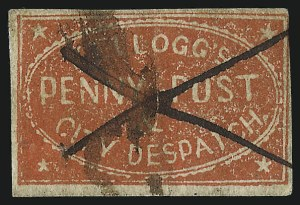 Sale Number 1071, Lot Number 4369, Carriers and Locals, Cont., Sanitary Fair, Christmas SealsKellogg's Penny Post & City Despatch, Cleveland O., (1c) Vermilion (92L1), Kellogg's Penny Post & City Despatch, Cleveland O., (1c) Vermilion (92L1)