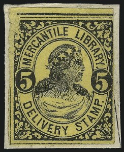 Sale Number 1071, Lot Number 4370, Carriers and Locals, Cont., Sanitary Fair, Christmas SealsMercantile Library Association, New York N.Y., 5c Black, 10c Black (105L1-105L3, 105L6), Mercantile Library Association, New York N.Y., 5c Black, 10c Black (105L1-105L3, 105L6)