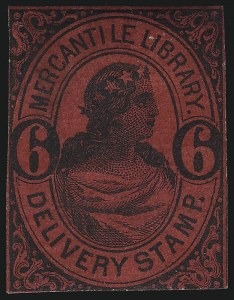Sale Number 1071, Lot Number 4371, Carriers and Locals, Cont., Sanitary Fair, Christmas SealsMercantile Library Association, New York N.Y., 6c Black on Maroon (105L5), Mercantile Library Association, New York N.Y., 6c Black on Maroon (105L5)