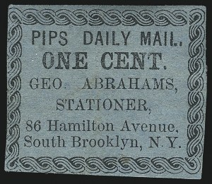 Sale Number 1071, Lot Number 4375, Carriers and Locals, Cont., Sanitary Fair, Christmas SealsPips Daily Mail, Brooklyn N.Y., 1c Black on Buff, Yellow, Dark Blue (116L2-116L4), Pips Daily Mail, Brooklyn N.Y., 1c Black on Buff, Yellow, Dark Blue (116L2-116L4)