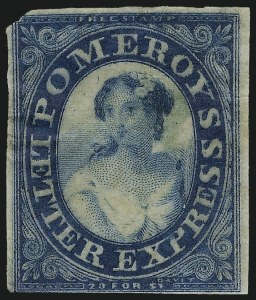 Sale Number 1071, Lot Number 4377, Carriers and Locals, Cont., Sanitary Fair, Christmas SealsPomeroy's Letter Express, 5c Deep Milky Blue on Pelure Paper (117L7), Pomeroy's Letter Express, 5c Deep Milky Blue on Pelure Paper (117L7)