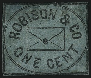 Sale Number 1071, Lot Number 4379, Carriers and Locals, Cont., Sanitary Fair, Christmas SealsRobison & Co., Brooklyn N.Y., 1c Black on Blue (128L1), Robison & Co., Brooklyn N.Y., 1c Black on Blue (128L1)