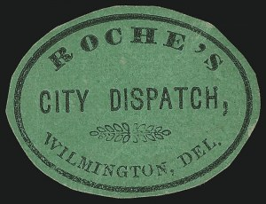 Sale Number 1071, Lot Number 4380, Carriers and Locals, Cont., Sanitary Fair, Christmas SealsRoche's City Dispatch, Wilmington Del., (2c) Black on Green Glazed (129L1), Roche's City Dispatch, Wilmington Del., (2c) Black on Green Glazed (129L1)