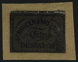 Sale Number 1071, Lot Number 4381, Carriers and Locals, Cont., Sanitary Fair, Christmas SealsStringer & Morton's City Despatch, Baltimore Md., (1c) Gold on Black Glazed (134L1), Stringer & Morton's City Despatch, Baltimore Md., (1c) Gold on Black Glazed (134L1)