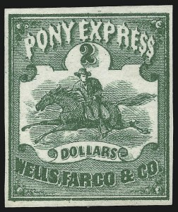 Sale Number 1071, Lot Number 4389, Carriers and Locals, Cont., Sanitary Fair, Christmas SealsWells, Fargo & Co. Pony Express, $2.00 Green (143L4), Wells, Fargo & Co. Pony Express, $2.00 Green (143L4)