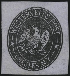 Sale Number 1071, Lot Number 4390, Carriers and Locals, Cont., Sanitary Fair, Christmas SealsWestervelt's Post, Chester N.Y., (unstated value) Black on Bluish, Cut Square (144LU3), Westervelt's Post, Chester N.Y., (unstated value) Black on Bluish, Cut Square (144LU3)