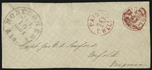 Sale Number 1073, Lot Number 304, Mobile Ala. thru New Orleans La.Montgomery Ala., 10c on 5c Red entire (59XU1a), Montgomery Ala., 10c on 5c Red entire (59XU1a)
