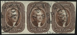 Sale Number 1074, Lot Number 502, 5c-10c 1851 Issue (Scott 12-16)5c Red Brown (12), 5c Red Brown (12)