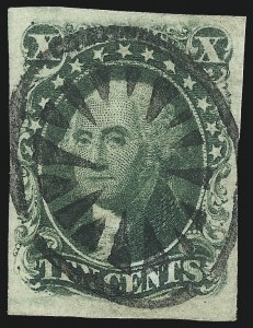 Sale Number 1074, Lot Number 504, 5c-10c 1851 Issue (Scott 12-16)10c Green, Ty. II (14), 10c Green, Ty. II (14)