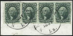 Sale Number 1074, Lot Number 506, 5c-10c 1851 Issue (Scott 12-16)10c Green, Ty. II (14), 10c Green, Ty. II (14)