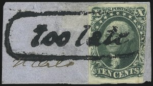 Sale Number 1074, Lot Number 512, 5c-10c 1851 Issue (Scott 12-16)10c Green, Ty. III (15), 10c Green, Ty. III (15)