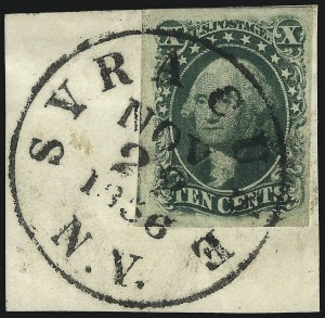 Sale Number 1074, Lot Number 516, 5c-10c 1851 Issue (Scott 12-16)10c Green, Ty. III (15), 10c Green, Ty. III (15)