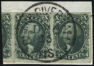 Sale Number 1074, Lot Number 517, 5c-10c 1851 Issue (Scott 12-16)10c Green, Ty. III (15), 10c Green, Ty. III (15)
