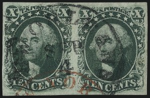 Sale Number 1074, Lot Number 519, 5c-10c 1851 Issue (Scott 12-16)10c Green, Ty. III (15), 10c Green, Ty. III (15)