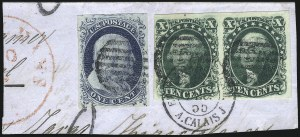 Sale Number 1074, Lot Number 520, 5c-10c 1851 Issue (Scott 12-16)10c Green, Ty. III (15), 10c Green, Ty. III (15)