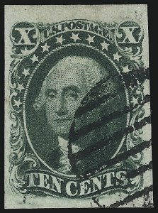 Sale Number 1074, Lot Number 523, 5c-10c 1851 Issue (Scott 12-16)10c Green, Ty. IV (16), 10c Green, Ty. IV (16)