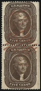 Sale Number 1074, Lot Number 570, 5c 1857-60 Issue (Scott 27-30A)5c Brown, Ty. II (30A), 5c Brown, Ty. II (30A)