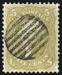 Sale Number 1074, Lot Number 672, 5c Buff and Brown Yellow Shades, 1861 Issue (Scott 67-67b)5c Olive Yellow (67b), 5c Olive Yellow (67b)