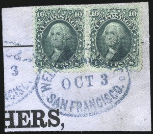 Sale Number 1074, Lot Number 695, 10c 1861 Issue (Scott 68)10c Yellow Green (68), 10c Yellow Green (68)