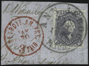 Sale Number 1074, Lot Number 760, 24c Lilac, Steel Blue, Violet Shades, 1861 Issue (Scott 70-70d)24c Pale Gray Violet, Thin Paper (70d), 24c Pale Gray Violet, Thin Paper (70d)