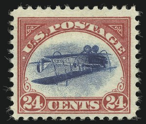 Sale Number 1075, Lot Number 1182, Inverted Jenny (C3a) and Upright Jenny Souvenir Sheet24c Carmine Rose & Blue, Center Inverted (C3a), 24c Carmine Rose & Blue, Center Inverted (C3a)
