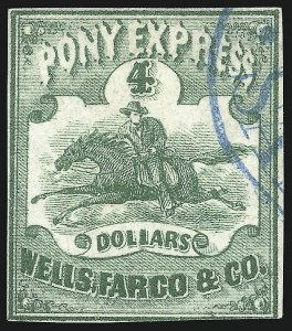 Sale Number 1075, Lot Number 1204, Carriers and Locals, Western ExpressWells, Fargo & Co. Pony Express, $4.00 Green (143L2), Wells, Fargo & Co. Pony Express, $4.00 Green (143L2)