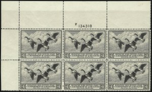 Sale Number 1076, Lot Number 2043, United States Hunting Permit Multiples$1.00 1936 Hunting Permit (RW3), $1.00 1936 Hunting Permit (RW3)