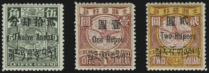 Sale Number 1076, Lot Number 2105, ChinaCHINA, Offices in Tibet, 1911, 3p on 1c to 2r on $2.00 (1-11), CHINA, Offices in Tibet, 1911, 3p on 1c to 2r on $2.00 (1-11)