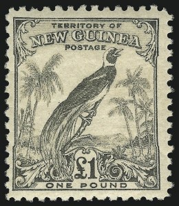Sale Number 1076, Lot Number 2190, Netherlands thru St. Pierre & MiquelonNEW GUINEA, 1931-34, 1p-£1 Bird of Paradise (31-45, 46-47, C14-43, O12-O35; SG 163-203, 206-207, O31-O54), NEW GUINEA, 1931-34, 1p-£1 Bird of Paradise (31-45, 46-47, C14-43, O12-O35; SG 163-203, 206-207, O31-O54)