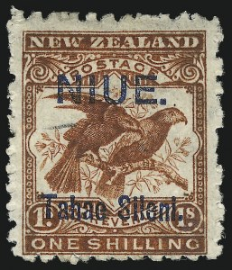 "Sale Number 1076, Lot Number 2193, Netherlands thru St. Pierre & MiquelonNIUE, 1903, 1sh Brown Red, ""Taha"" and ""e"" Combined (13c; SG 15), NIUE, 1903, 1sh Brown Red, ""Taha"" and ""e"" Combined (13c; SG 15)"