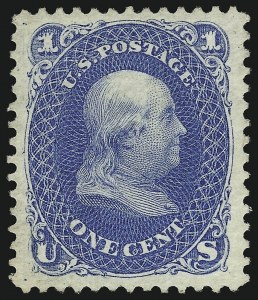 Sale Number 1077, Lot Number 110, 1875 Re-Issue of 1861-66 Issue (Scott 102-111)1c Blue, Re-Issue (102), 1c Blue, Re-Issue (102)