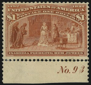 Sale Number 1077, Lot Number 175, 1893 Columbian Issue (Scott 230-245)$1.00 Columbian (241), $1.00 Columbian (241)