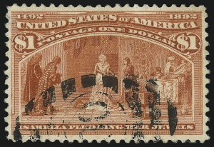 Sale Number 1077, Lot Number 176, 1893 Columbian Issue (Scott 230-245)$1.00 Columbian (241), $1.00 Columbian (241)