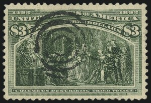 Sale Number 1077, Lot Number 179, 1893 Columbian Issue (Scott 230-245)$3.00 Columbian (243), $3.00 Columbian (243)
