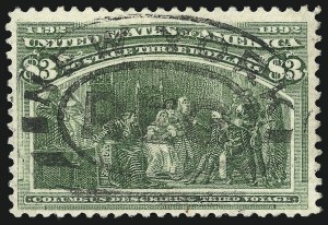 Sale Number 1077, Lot Number 180, 1893 Columbian Issue (Scott 230-245)$3.00 Columbian (243), $3.00 Columbian (243)