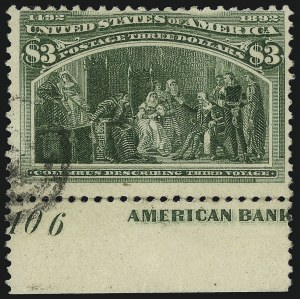 Sale Number 1077, Lot Number 181, 1893 Columbian Issue (Scott 230-245)$3.00 Columbian (243), $3.00 Columbian (243)