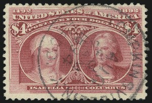 Sale Number 1077, Lot Number 182, 1893 Columbian Issue (Scott 230-245)$4.00 Columbian (244), $4.00 Columbian (244)