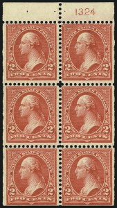 Sale Number 1077, Lot Number 206, 1894-98 Bureau Issue (Scott 246-284)2c Red, Ty. IV, Booklet Pane of Six, Vertical Wmk. (279Bk), 2c Red, Ty. IV, Booklet Pane of Six, Vertical Wmk. (279Bk)