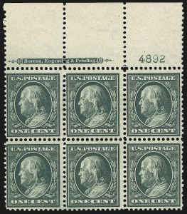 Sale Number 1077, Lot Number 240, 1904 Louisiana Purchase thru Bluish Paper (Scott 323-366)1c Green, 2c Carmine, Bluish (357-358), 1c Green, 2c Carmine, Bluish (357-358)