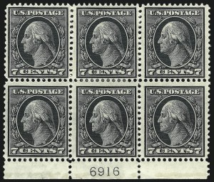 Sale Number 1077, Lot Number 253, 1912-15 Washington-Franklin Issues (Scott 405-461)7c Black (407), 7c Black (407)