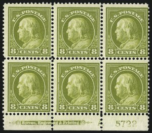 Sale Number 1077, Lot Number 255, 1912-15 Washington-Franklin Issues (Scott 405-461)8c Pale Olive Green (414), 8c Pale Olive Green (414)