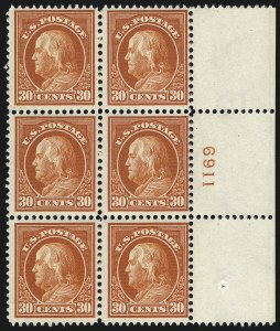 Sale Number 1077, Lot Number 260, 1912-15 Washington-Franklin Issues (Scott 405-461)30c Orange Red (420), 30c Orange Red (420)