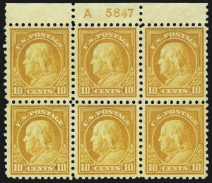 Sale Number 1077, Lot Number 266, 1912-15 Washington-Franklin Issues (Scott 405-461)10c Orange Yellow (433), 10c Orange Yellow (433)