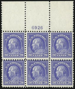 Sale Number 1077, Lot Number 271, 1912-15 Washington-Franklin Issues (Scott 405-461)20c Ultramarine (438), 20c Ultramarine (438)