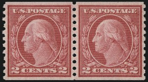 Sale Number 1077, Lot Number 274, 1912-15 Washington-Franklin Issues (Scott 405-461)2c Carmine, Ty. III, Coil (455), 2c Carmine, Ty. III, Coil (455)