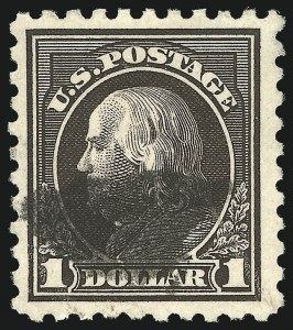 Sale Number 1077, Lot Number 278, 1912-15 Washington-Franklin Issues (Scott 405-461)$1.00 Violet Black (460), $1.00 Violet Black (460)